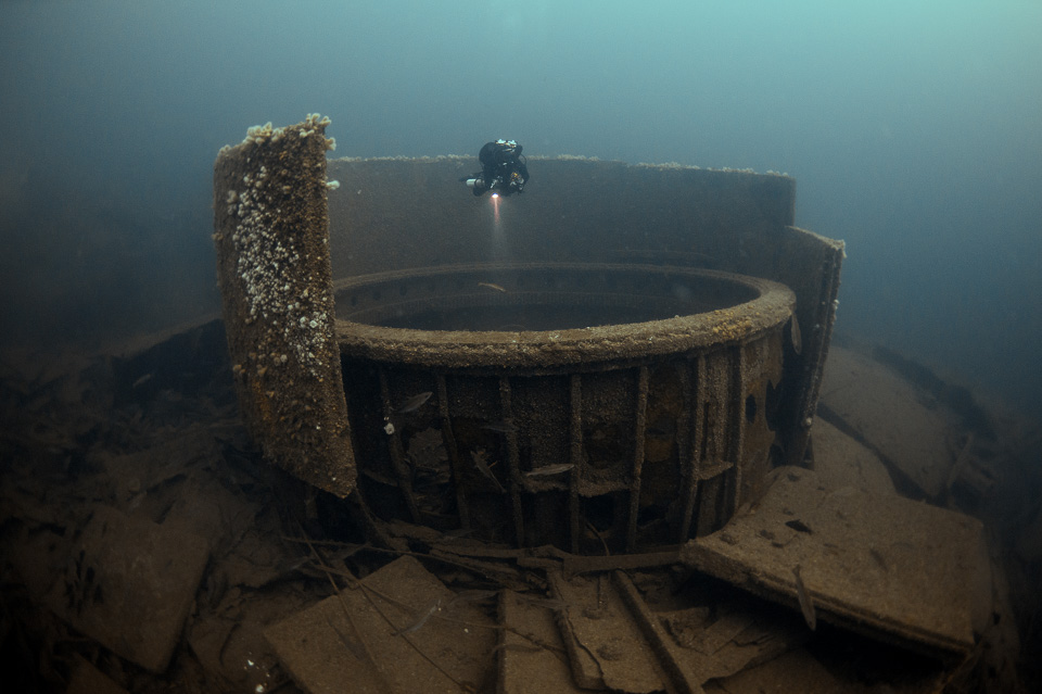 The giant gun turret barbette of HMS Audacious, the first British Battleship to be sunk in WWI. The colossal wreck lies at 65 metres in Malin Head, Ireland.  Click on the image to see the full gallery from this location